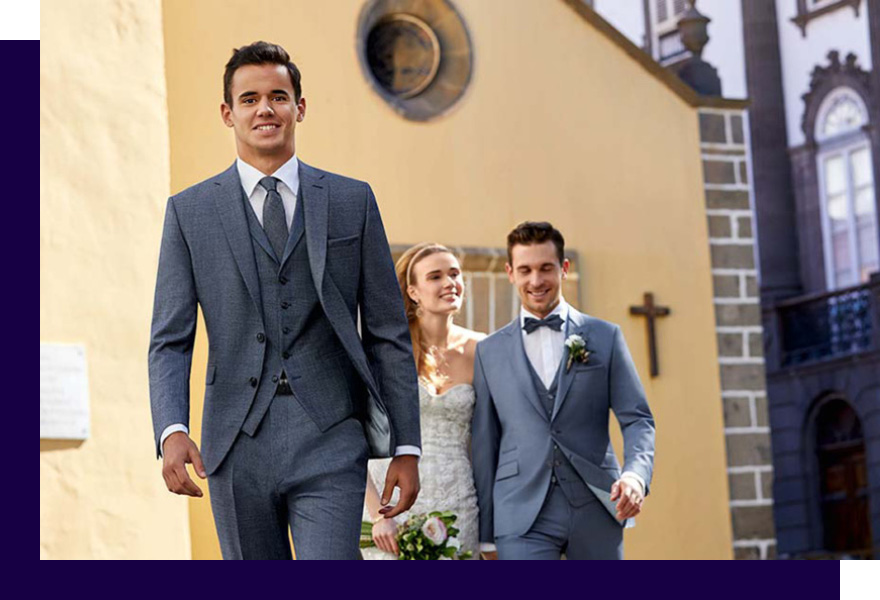2 Männer in grauen Anzügen von Haus der Mode Wetzlar und Braut, festliche Anzüge Wetzlar