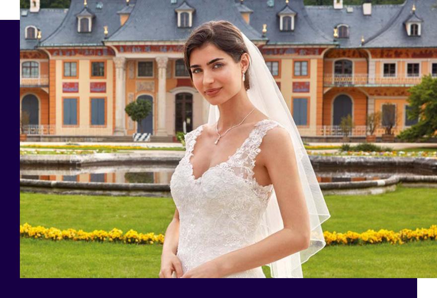 Braut mit Hochzeitskleid, Schleier und Hochzeitsschmuck von Kleemeier, Haus der Mode Wetzlar, Brautaccessoires Wetzlar