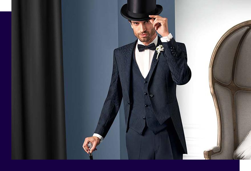 Mann im Anzug mit edlem Sakko und Hut bei Haus der Mode Wetzlar, Anzüge Gießen